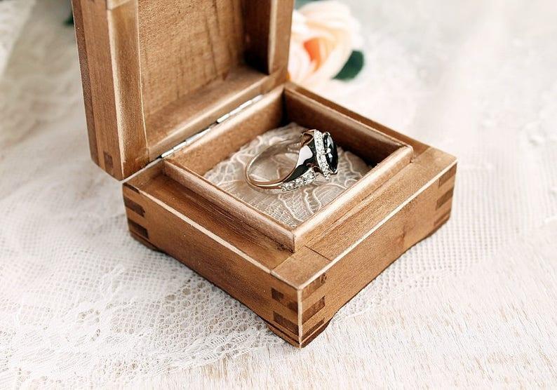 Wedding Ring Box Mini Box for Rings Small Ring Box Keepsake Box Proposal Ring Box with two Hearts Rustic Ring Box Engagement Ring Box