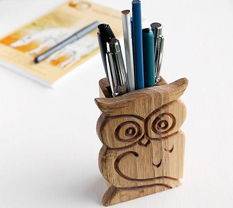 Wood Carved Owl Pen Holder Office Desk Organizer Pencil Etsy