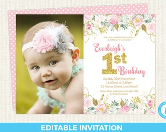 first birthday invitation girl editable first birthday first etsy
