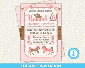 Cowgirl Invitation Birthday Editable Horse Invites Western