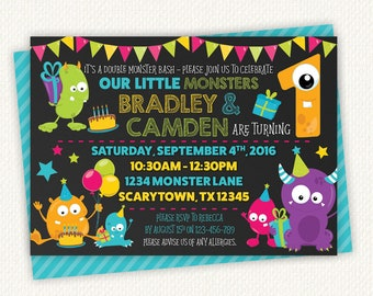 Monster party, monster party invite, monster party invitation, monster Birthday, monster birthday party, monster theme, Twin invitation