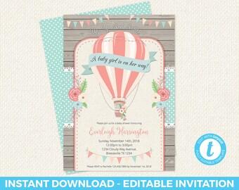 Hot Air Balloon Baby Shower, Hot Air Balloon Baby Shower Invitation, baby shower, hot air balloon, editable invitation, templett, instant