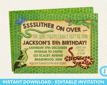 Reptile Birthday Invitation Party Editable Templett
