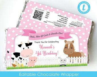 Farm Party Favor, Farm Chocolate Wrapper, Farm Birthday, Barnyard party favor, editable chocolate bar, Hershey, Aldi, templett, farmyard