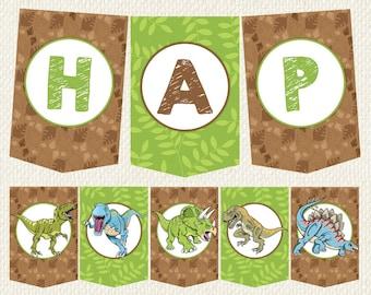 Dinosaur birthday decorations, Dinosaur Birthday Banner, Dino Birthday, Dinosaur party decor, printable bunting, dino party, dinosaur party