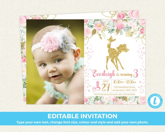 First Birthday Invitation Floral Invite