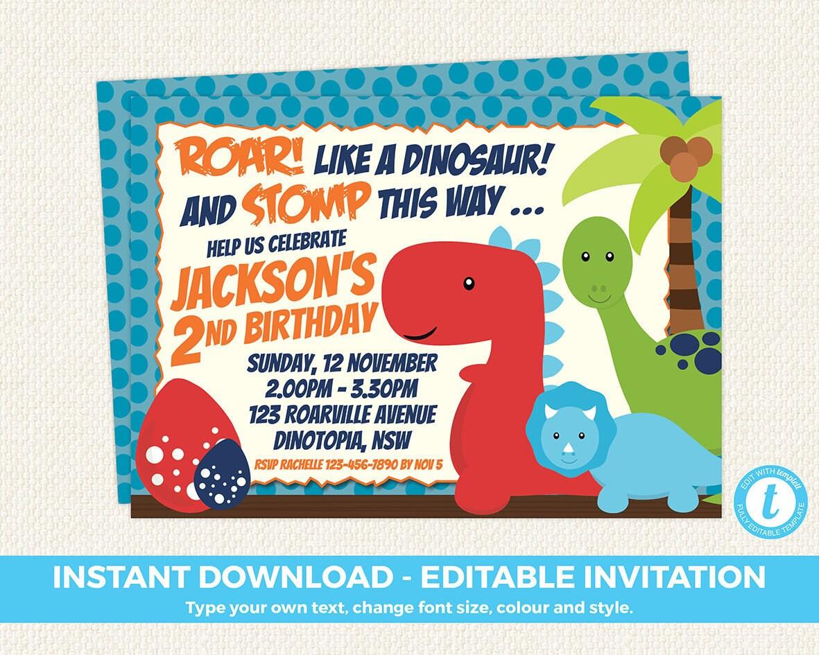 Dinosaur Invitation Dinosaur Birthday Invitation Dinosaur   Etsy