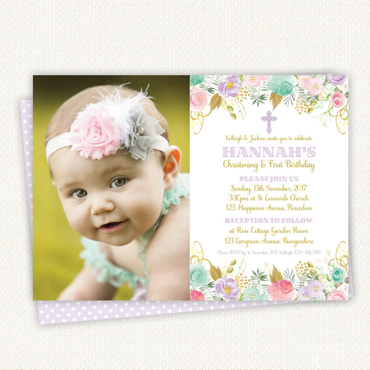 Christening Birthday Invitation baptism birthday invitation | Etsy
