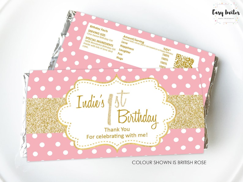 First Birthday Chocolate Wrapper, first birthday candy bar wrappers, first  birthday candy wrappers, hershey bar wrapper, aldi wrapper