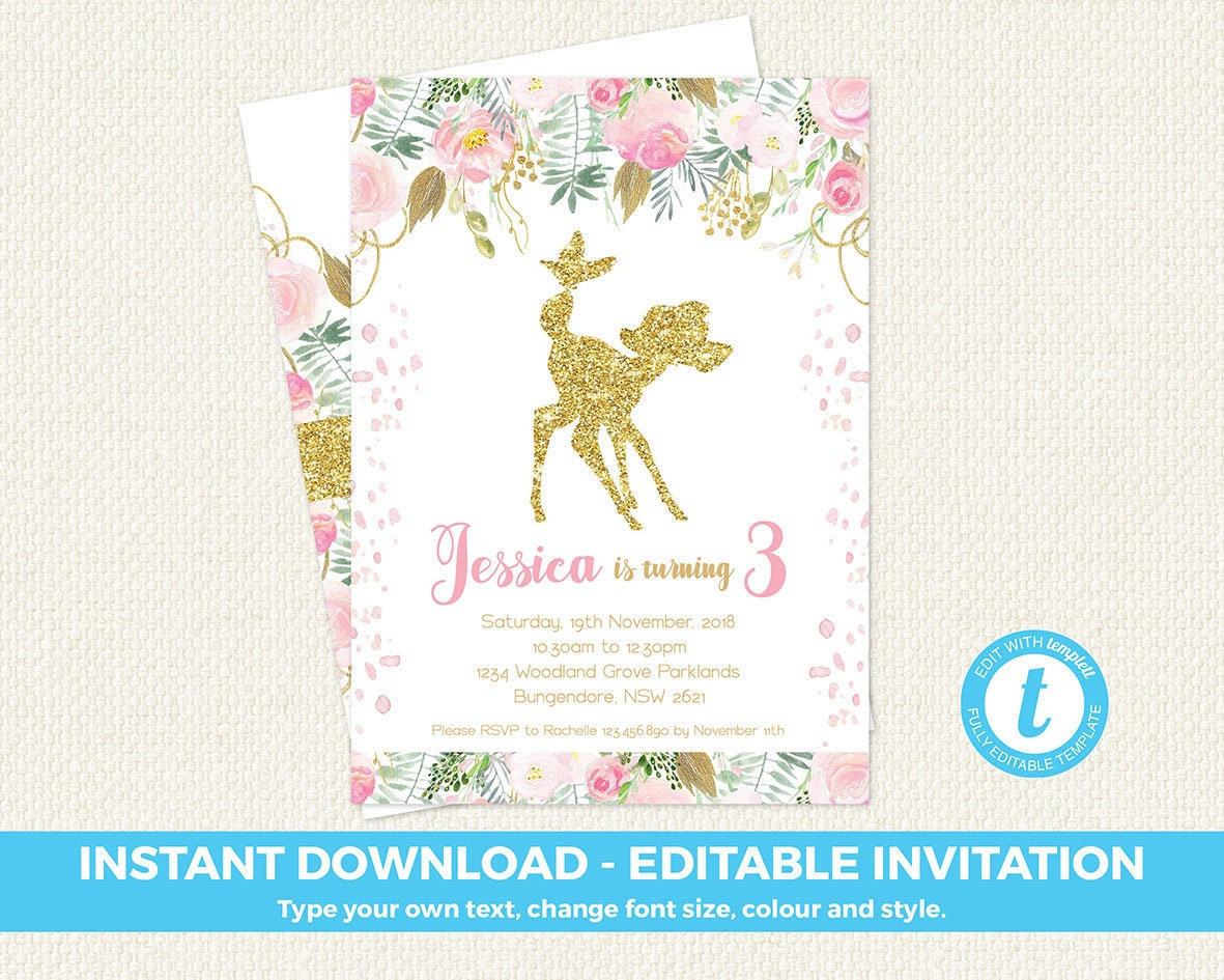First Birthday Invitation, floral invite, pink and gold first birthday,  Deer invitation, editable invitation, templett, bambi, instant, 1st