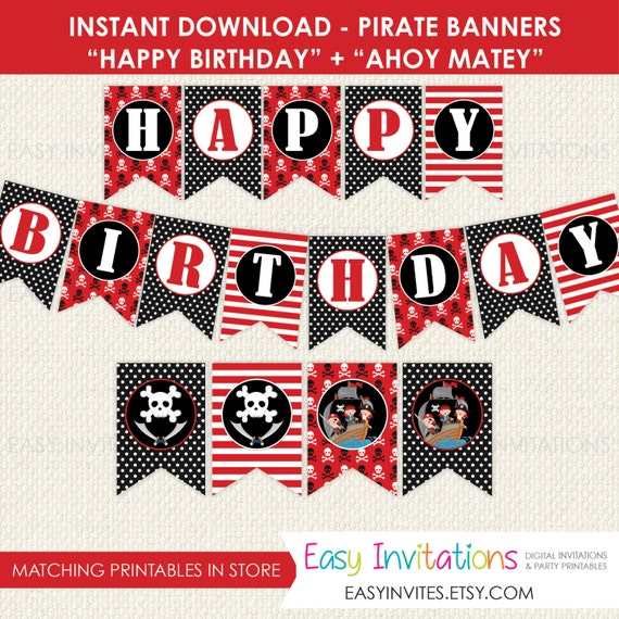 photo regarding Pirate Party Printable identified as Pirate Birthday Banner, pirate social gathering printable, pirate banner, pirate birthday decorations, prompt down load banner, birthday bunting, flags