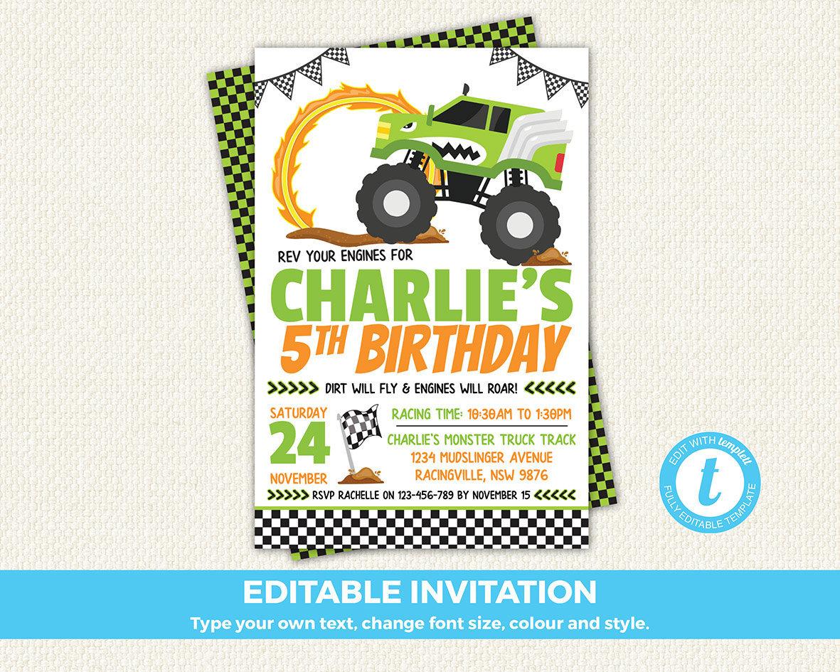 Monster Truck Invitation Monster Truck Birthday Monster | Etsy