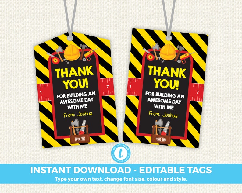 Tool Tags: Tools Thank You Tags Tools Favour Tag Toolbox Favor