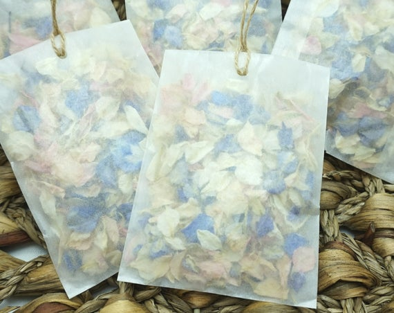 Set of 20 Petal Confetti in Glassine Envelopes with Rustic String Wedding Confetti Biodegradable Dried Delphinium Petals Choice of Colours