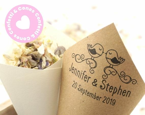 Handcrafted Personalised Love Birds Wedding Confetti Cones & Delphinium Petal Confetti Bundle - Ivory White Kraft