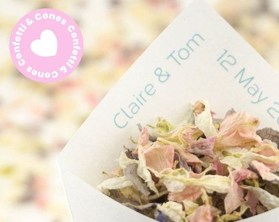 Handcrafted Personalised Elegance Wedding Confetti Cones & Dried Delphinium Petal Confetti Bundle - Ivory White Kraft