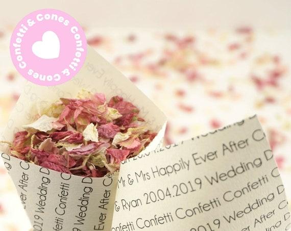 Handcrafted Personalised Wedding Chatter Wedding Confetti Cones & Delphinium Petal Confetti Bundle - Ivory White Kraft