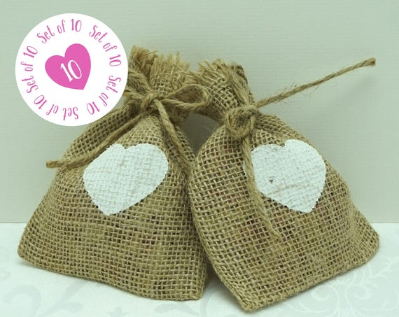 Set of 10 Hessian Bags with White Heart Design & String Tie Top 11x13cm Perfect for Wedding Confetti or Favors