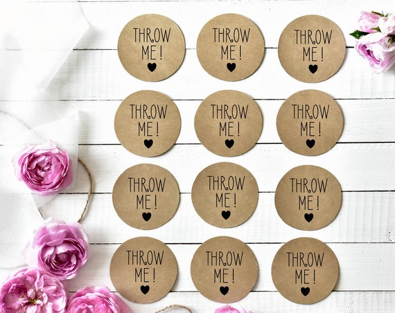 Personalised Stickers Throw Me! Kraft Brown Wedding Sticker Wedding Label, Confetti Sticker, Confetti Label, Favour Sticker