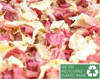 Delphinium Dried Petal Wedding Confetti Eco-Friendly Biodegradable Natural Raspberry / Vanilla - Half Litre, 1 Litre, 5 Litres or 10 Litres