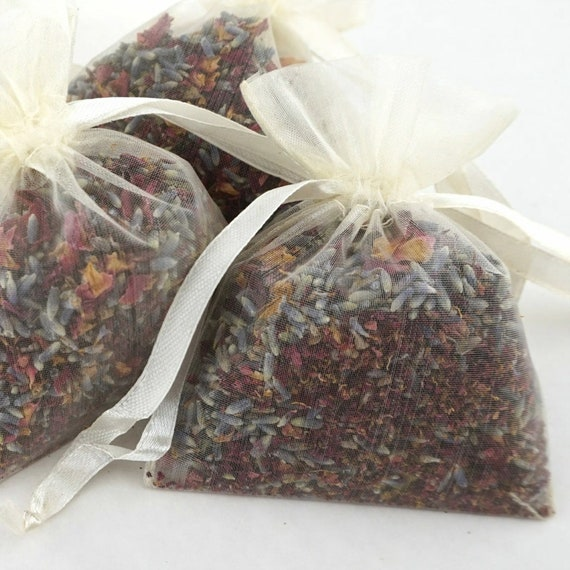 Set of 10, 20, 50 or Sample Individual Portion Organza Bags Natural Wedding Confetti Biodegradable Air Dried Rose Petals Wild Red & Lavender