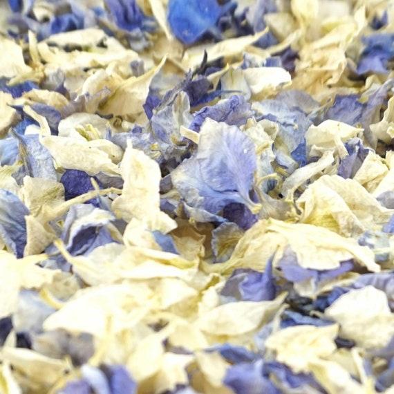 Delphinium Dried Petal Wedding Confetti Eco-Friendly Biodegradable Natural Iced Blue / Vanilla - Half Litre, 1 Litre, 5 Litres or 10 Litres