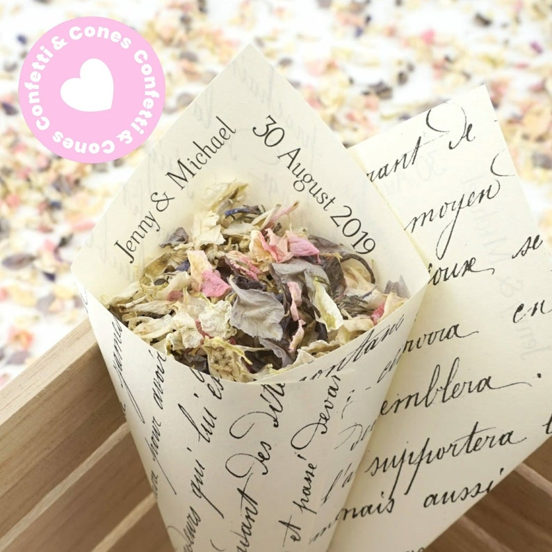 Handcrafted Personalised Vintage French Wedding Confetti Cones /& Dried Delphinium Petal Confetti Bundle Ivory White Kraft