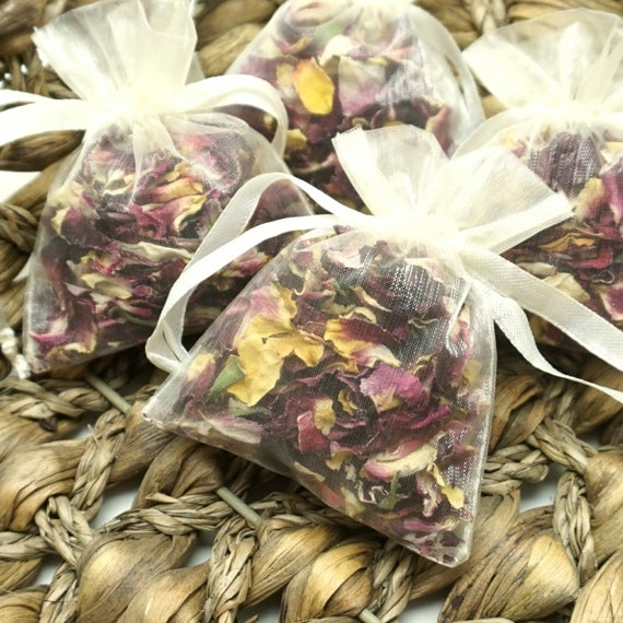 Sample, Set of 10, 20 or 50 Individual Portion Organza Bags Natural Wedding Confetti Biodegradable Air Dried Rose Petals Tropical Crush