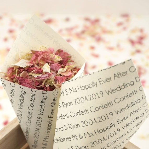 Handcrafted Personalised Wedding Chatter Wedding Confetti Cones Ivory White Kraft - Sample, Set of 10, 20, 50, 75 or 100