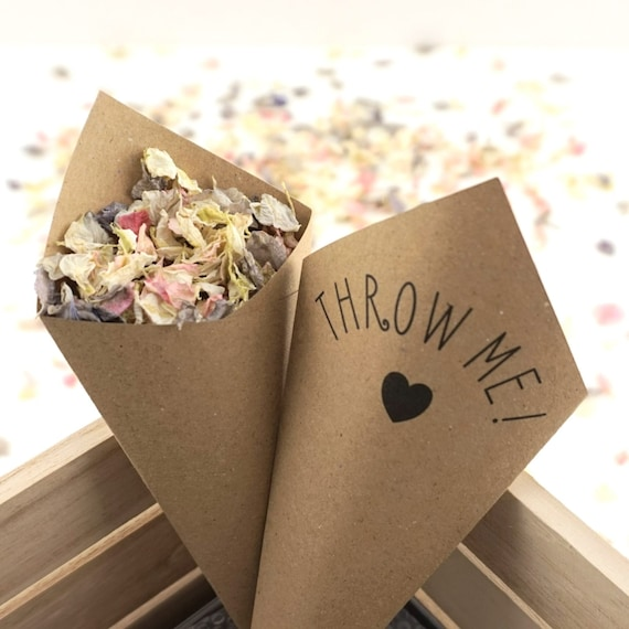 Handcrafted Throw Me! Wedding Confetti Cones - Ivory, White, Kraft - Sample, Set of 10, 20, 50, 75, 100