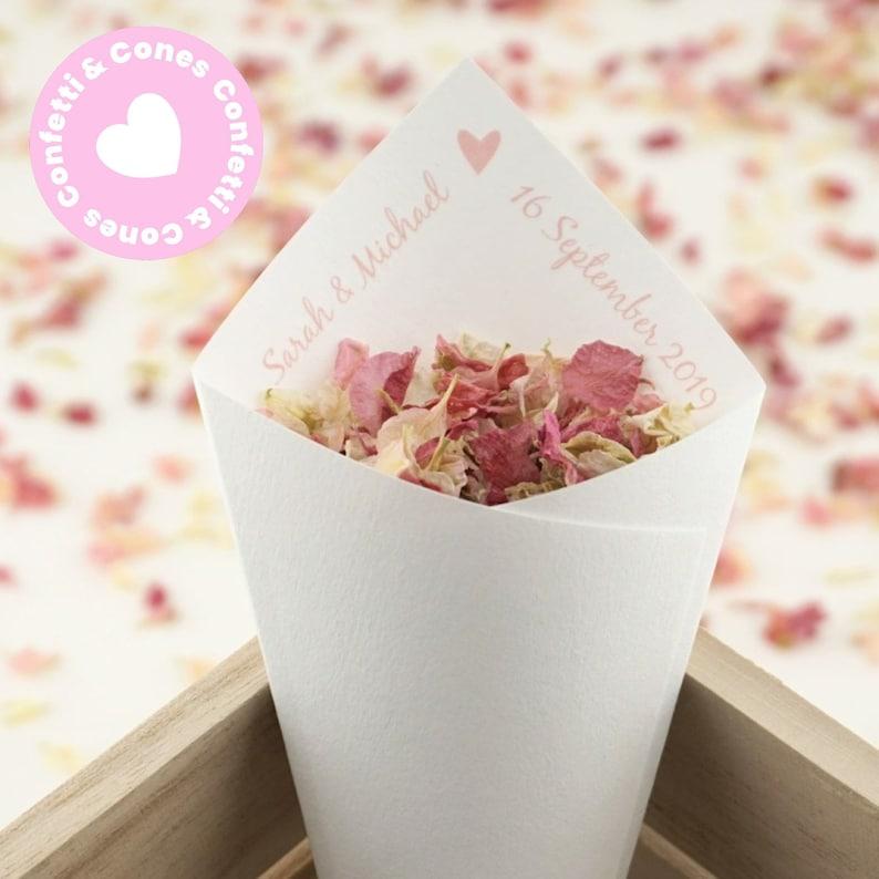Ivory Kraft White Handcrafted Personalised Love Heart Wedding Confetti Cones /& Delphinium Petal Confetti Bundle