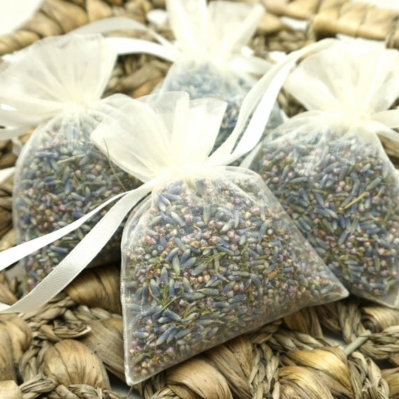 Set of 10, 20, 50 or Sample Individual Portion in Organza Bags Natural Wedding Confetti Biodegradable Dried Lavender & Heather Grain