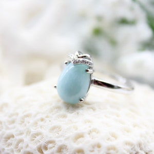 Larimar and Dominican Red Amber Cubic Zirconia Ring Multi-stone Sterling Silver Flip 2 way reversible genuine stone 8.75