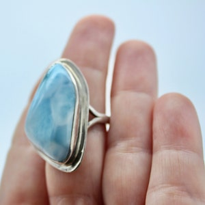 Beautiful Larimar Icy Teardrop and CZ Ring Size 9 Sky Blue Turtleback Gem 14K Whte Gold Plated 925 Sterling Silver Genuine Dominican Stone