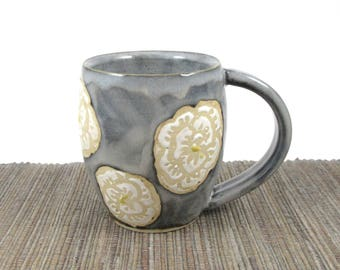 Ceramic Mug, Hand Made Ceramic Pottery Cup in Grey Blue with White Roses, Gray Mug, Ceramic Coffee Cup, Floral Cup, Ready to Ship