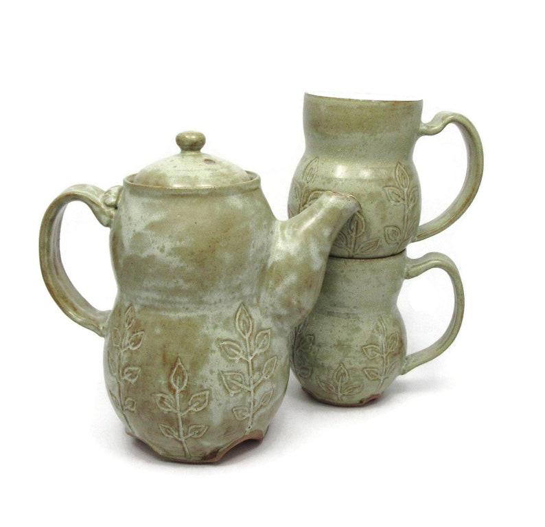 Large Earthy Teapot Two Cups Handmade Ceramic Teapot and mug Ready to Ship Green and White Tea Set with Leaf Design Handmade Pottery