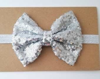 Cute Gold Sequin Bow Pink Baby Headband