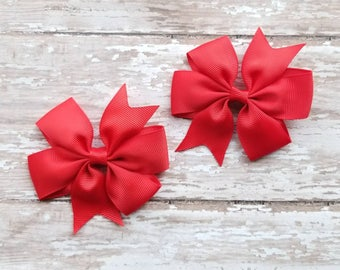 Red Pigtail Bows, Valentine's Day Bows, Hair Bow Set, Red Hair Bows, Red Hair Clips, Girls Red Hair Bows, Red Pinwheel Bows, Red Ribbon Bows