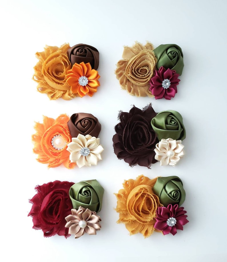Your Choice of Style Mustard Gold Rustic Orange Rustic Fall Hair Clips Beige and Sage Green Hair Clip Autumn Hair Clips Burgundy Brown