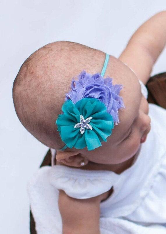 Starfish Flower Newborn Headband Baby Girl Hair Teal Aqua Blue Hair Bow Mermaid