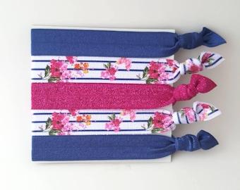 Hair Ties - Yoga Hair Ties - Navy Blue Hair Ties - Pink Hair Ties - Bridesmaid Gift - Elastic Hair Ties - Floral Hair Ties - Hair Bands