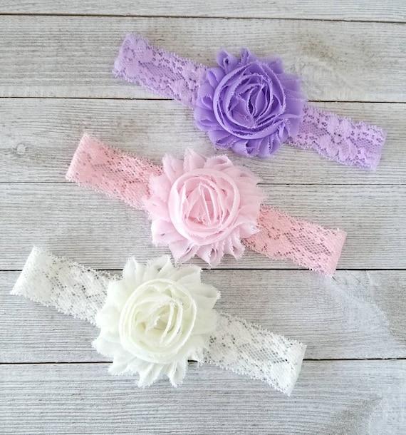 Pale Pink Headband Lilac Headband Lavender Headbands Aqua Headbands Newborn Headband Set Baby Girl Headbands Pastel Headband Set
