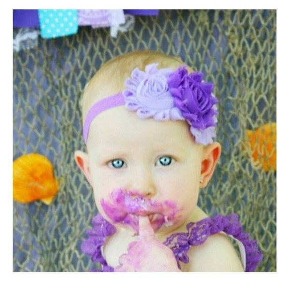 Lavender Dainty Hair Bow Lace Headband FITS Preemie Newborn Baby Toddler Easter