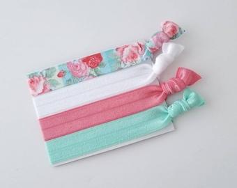 Floral Hair Ties - Yoga Hair Ties - Pink Hair Ties - Elastic Hair Ties - Hair Tie Bracelet - No Crease Hair Ties - Elastic Hair Bands