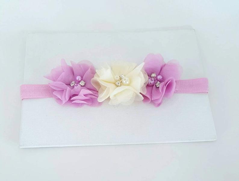 Fancy Headbands Pink Bows Ivory Headband Newborn Headband Tulip Pink and Ivory Headband Tulip Pink Headband Flower Girl Headband