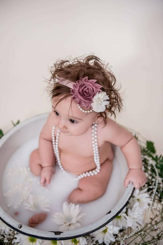 Mauve Headband Newborn Headband Dusty Pink Bows Dusty Pink Headband Mauve Baby Headband Baby Girl Headband Shabby Chic Headband