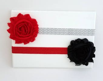 Red and Black Headband Set - Newborn Headbands - Baby Girl Headbands - Red Baby Headband - Black Baby Headband - Polka Dot Headband