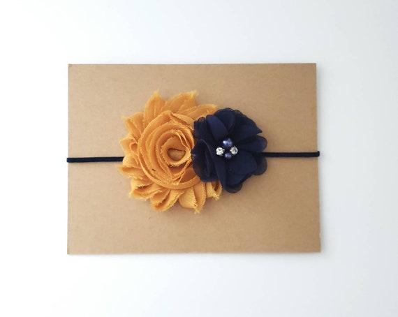 Rustic Gold And Navy Blue Headband Fall Baby Headbands Etsy