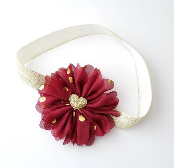 Valentine S Headband Burgundy Headband Heart Headband Etsy