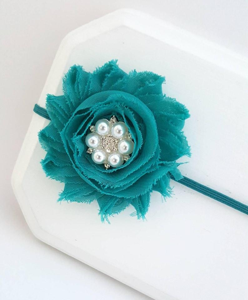 Vibrant Teal Chiffon Flower Headband Preemie Headband Baby Girl Headband Teal Infant Headband Newborn Headband Teal Cake Smash